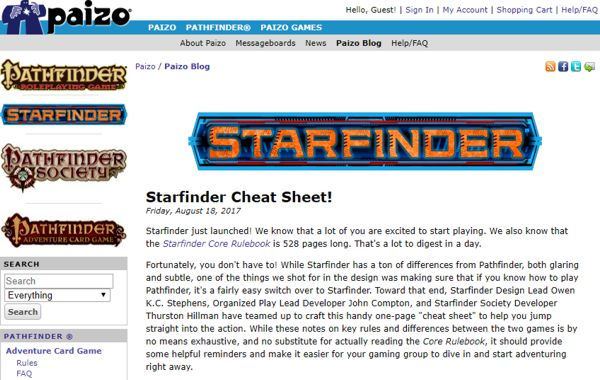 Starfinder official cheat sheet summary for the core rules
