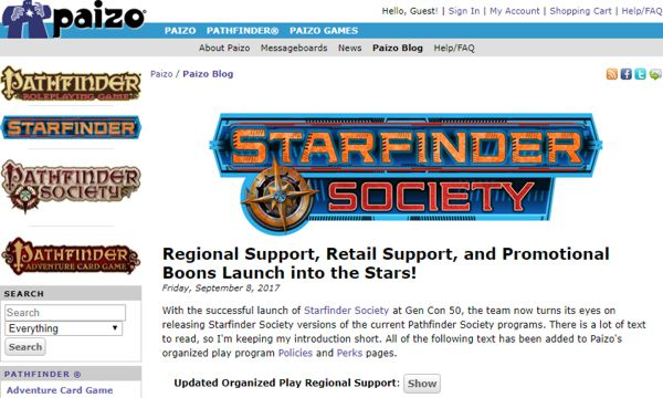 One month after Starfinder RPG debuts at GenCon50 | Starfinder